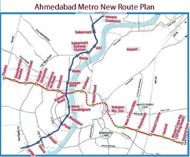 Ahmedabad Metro Phase I Route Map
